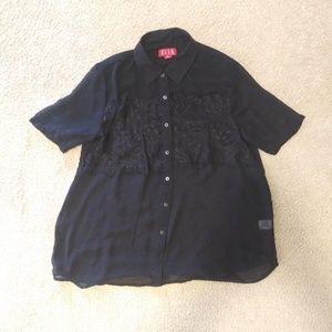 🔴5/$25 Black Button Up Blouse - ELLE, XS